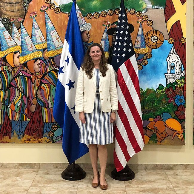 At the US Embassy Tegucigalpa Honduras in 2018. Jamie's dad was the defense and air attache there from 1986-1990