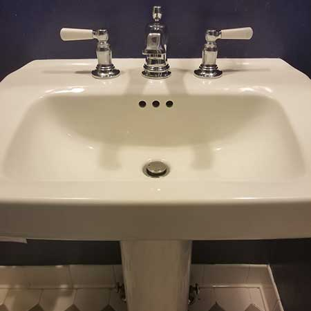 Bathroom sink installation by John Wilcox Plumbing & Heating