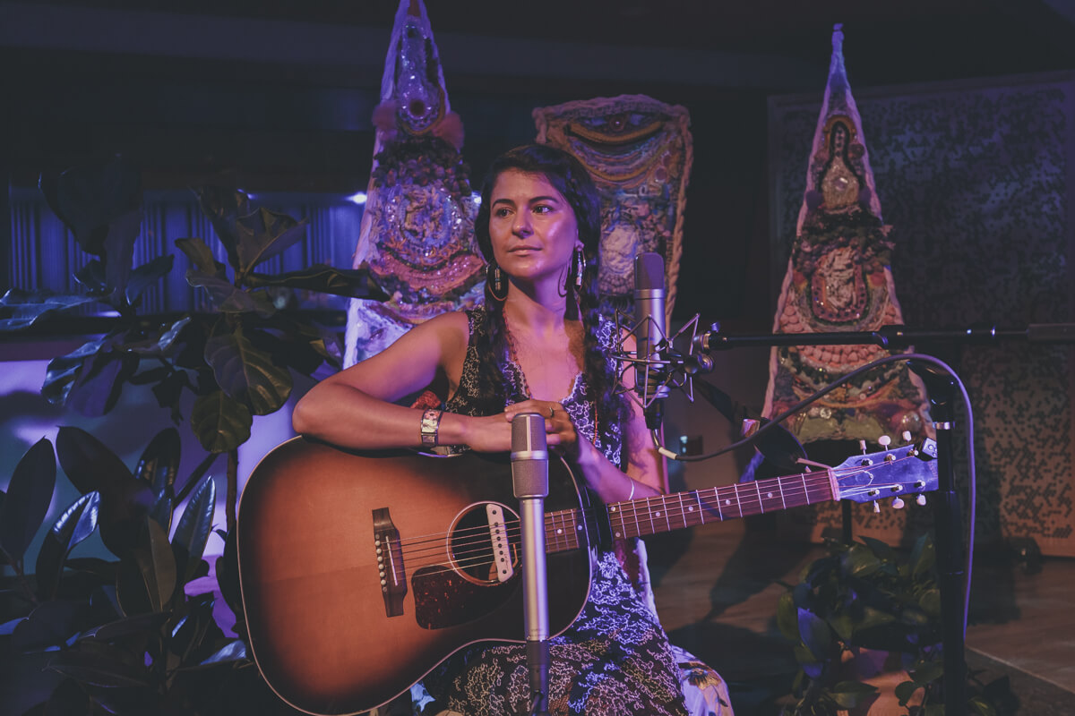 "alt=""click for video of mariee sioux live in studio performing black snakes, grief in exile and a talking about her life and music"""