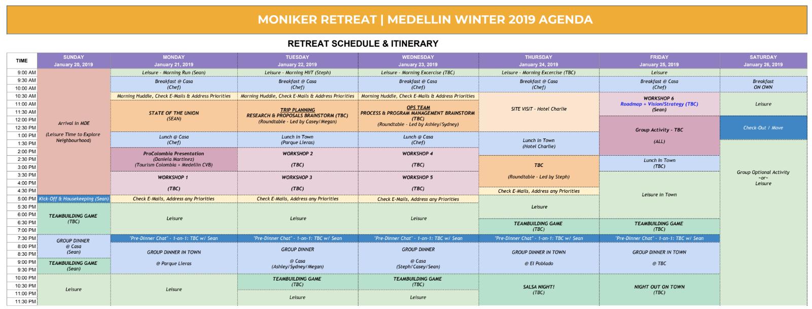 Company retreat schedule