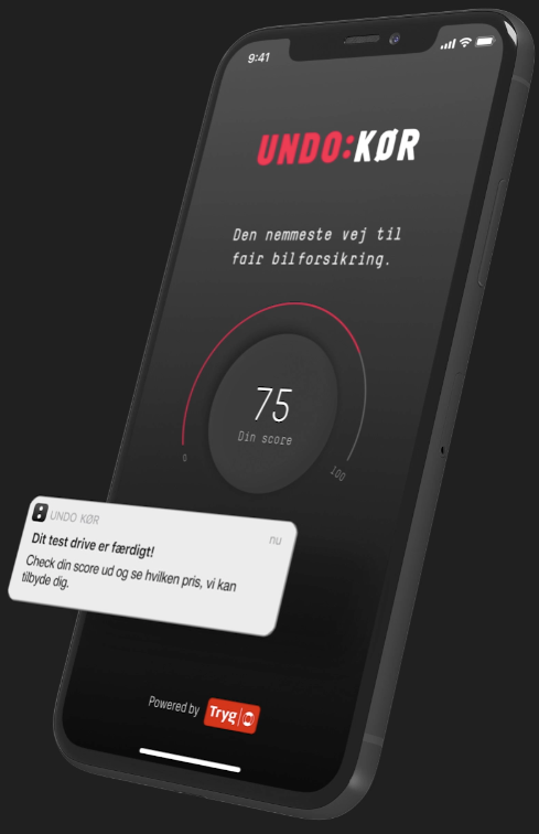 I appen kan du se, hvad din score er under dit test drive. Din score udgør 20 % af prisen på din bilforsikring hos os.