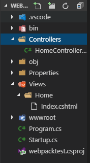A screenshot of the ASP.NET project structure