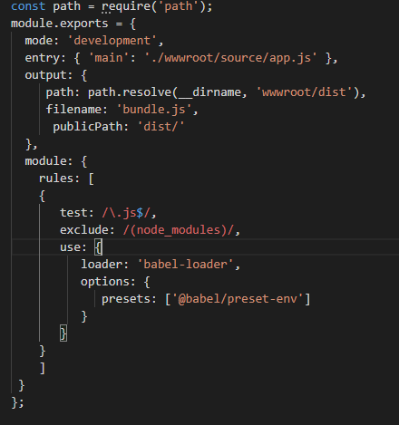 The code of the webpack config