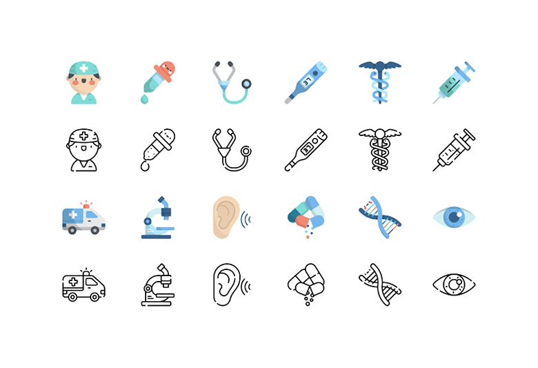 A few sets of icons depicting the same set of ideas