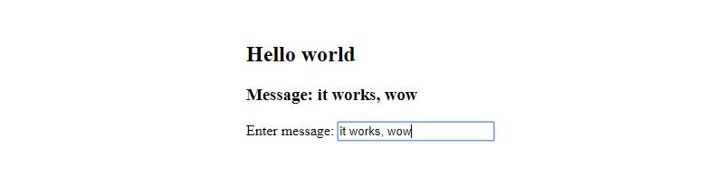 A screenshot of the Hello world web app
