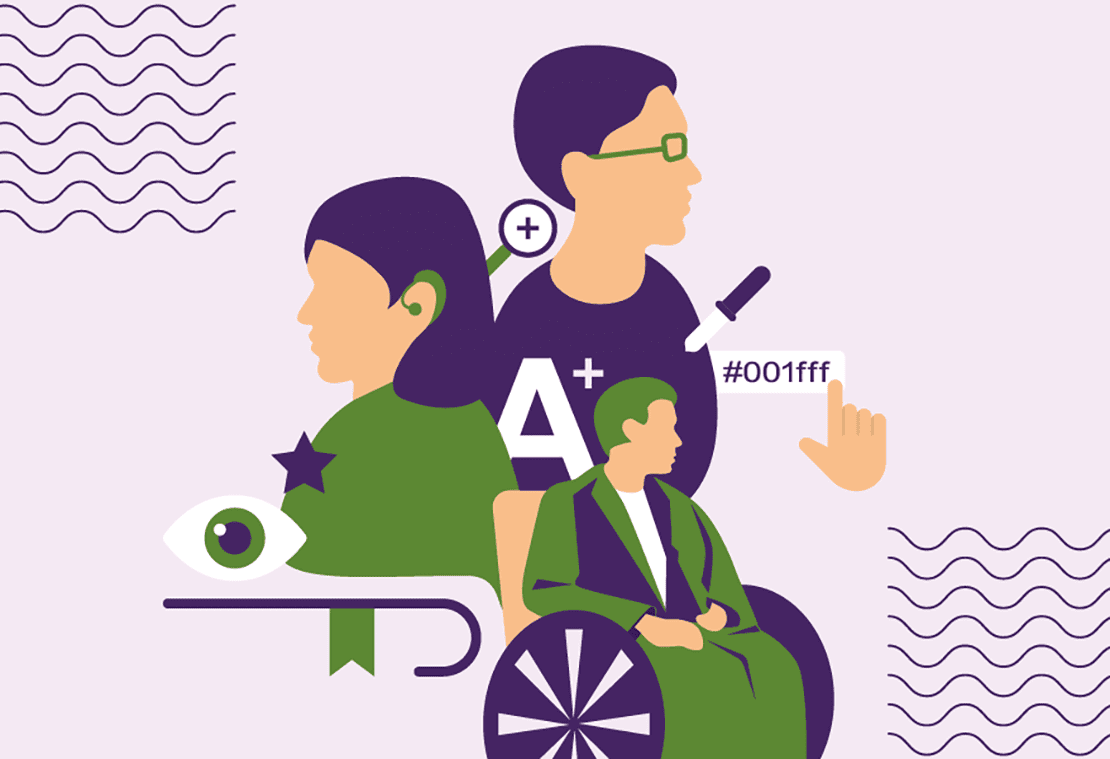 An illustration depicting people with various impairments