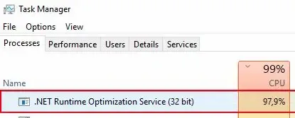 Screenshot of Task Manager showing CPU loaded with .NET Runtime Optimization Service