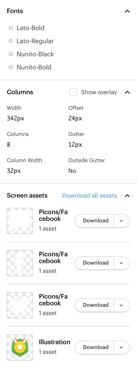 Marvel app: Lower part of general properties of the screen