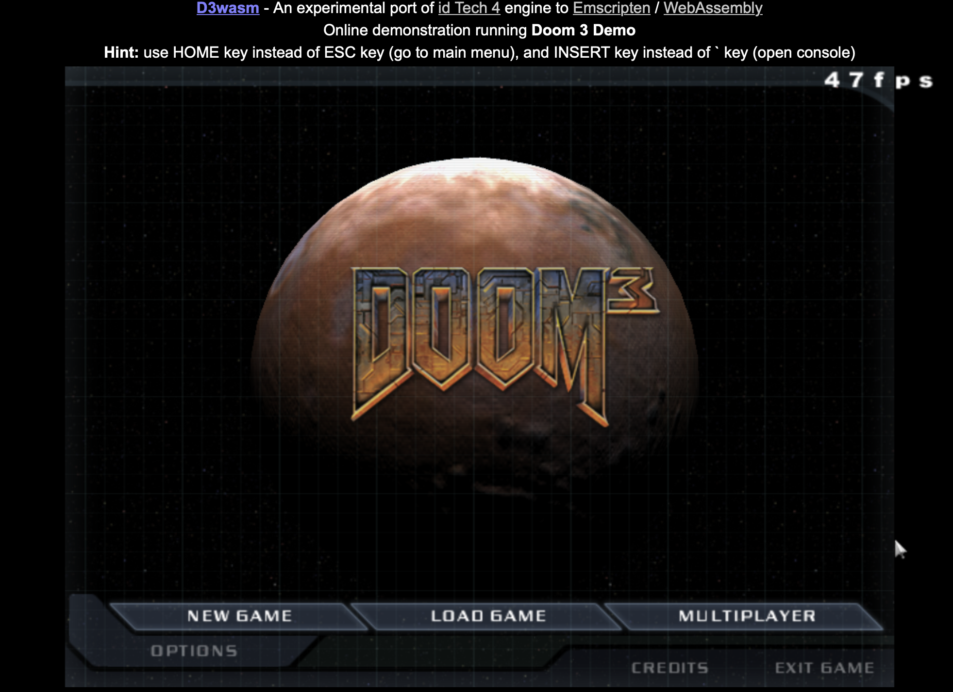 Screenshot of Doom 3 running in browser