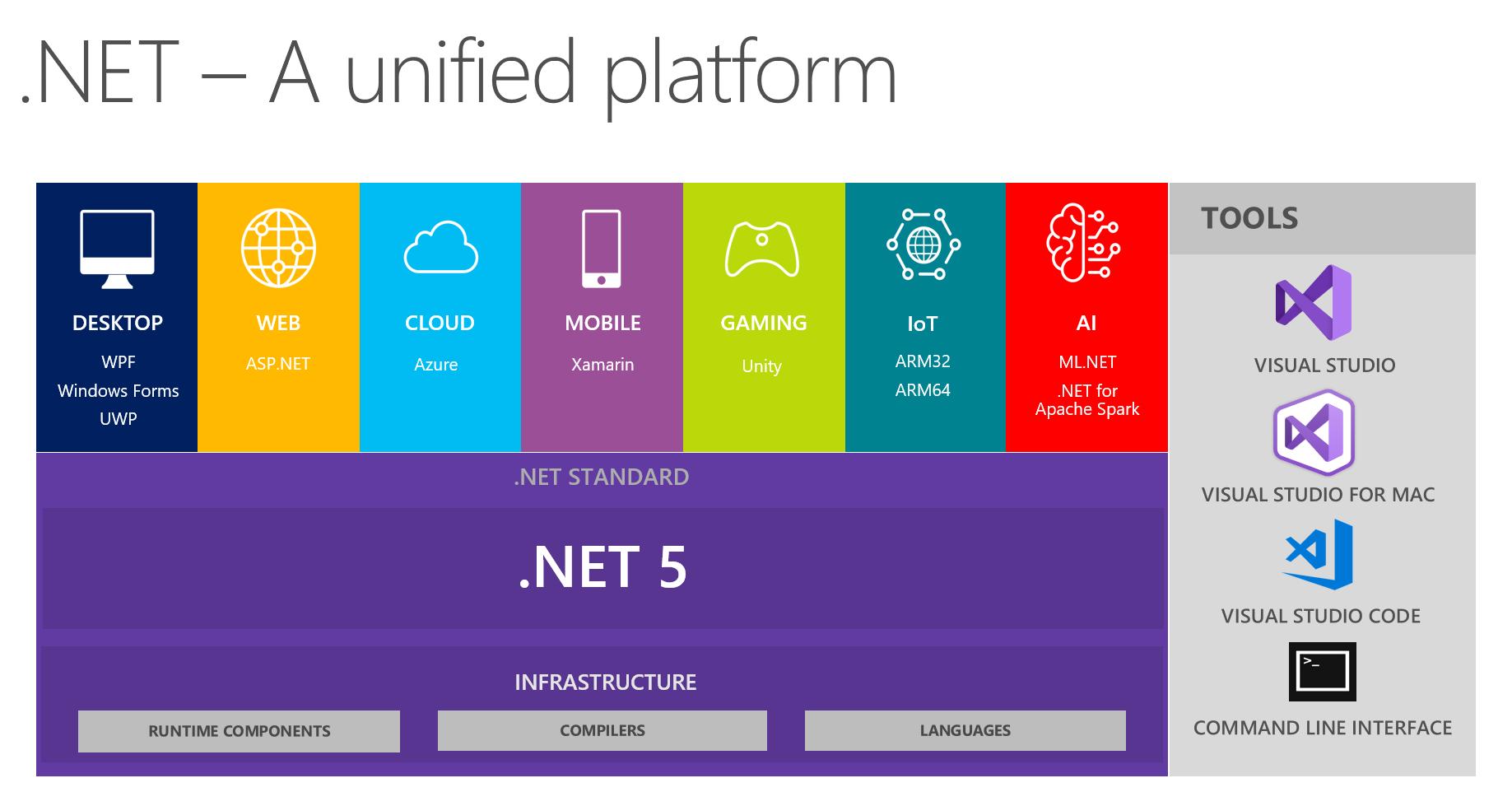 .NET 5 standard explained in a scheme