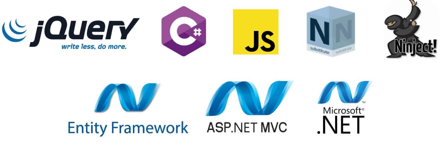 C#, JavaScript, .Net, ASP .NET MVC, Entity Framework, NSubstitute, Ninject, Razor, jQuery
