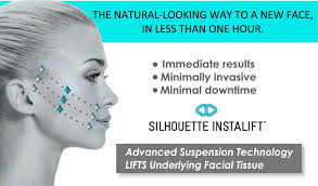 Profile picture of a woman looking at text. The natural-looking way to a new face, in less than one hour. Immediate results. Minimally invasive. Minimal Downtime. Silhouette Instalift. Advanced Suspension Technology Lifts Underlying Facial Tissue.