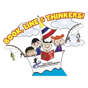 logo with children holding fishing rods in a boat and a book