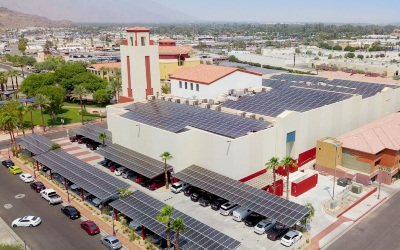 The Mary Pickford Theater with solar power and battery storage