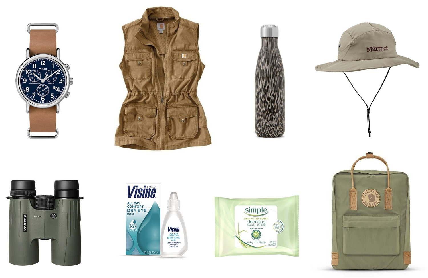 1)  Timex Weekender Chrono Oversized Watch  2)  Carhartt Women's El Paso Utility Vest  3)  S'well Khaki Cheetah Bottle  4)  Marmot Simpson Sun Hat  5)  Vortex Viper HD Binoculars  6)  Visine All Day Comfort Dry Eye Relief  7)  Simple Cleansing Facial Wipes  8)  Fjallraven Kanken No.2 16L Backpack in Green