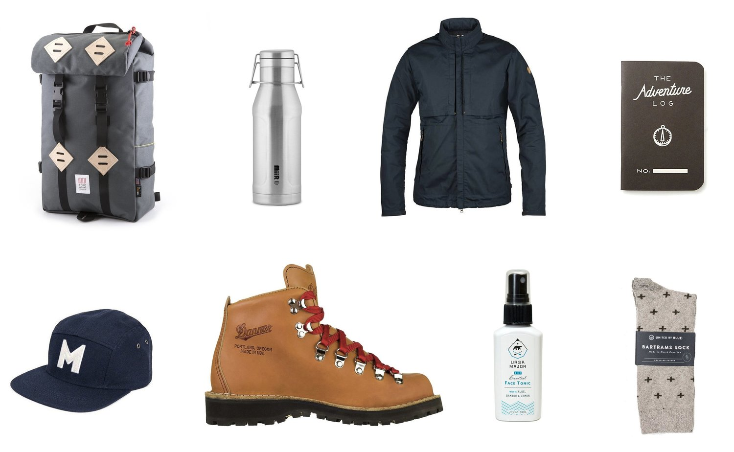 1)  Topo Designs Klettersack in Charcoal  2)  Miir Heritage Howler in Stainless Steel  3)  Fjallraven Travelers Jacket  4)  The Adventure Log by Word. Notebooks in Black  5)  Danner Portland Select Mountain Light Boot  6)  Ursa Major 4-in-1 Essential Face Tonic  7)  United by Blue Byers Bartrams Sock