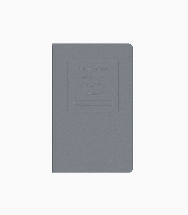 """Public Supply 5x8"""" Soft Cover Notebook Embossed - Steel"""