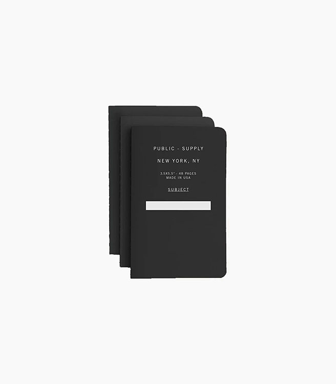 Public Supply 3x5 in. Notebook Set - 3 pack - Black 01
