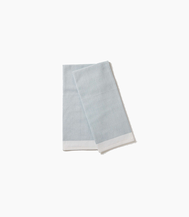 Coyuchi Diamond Chambray Kitchen Towel - Aqua