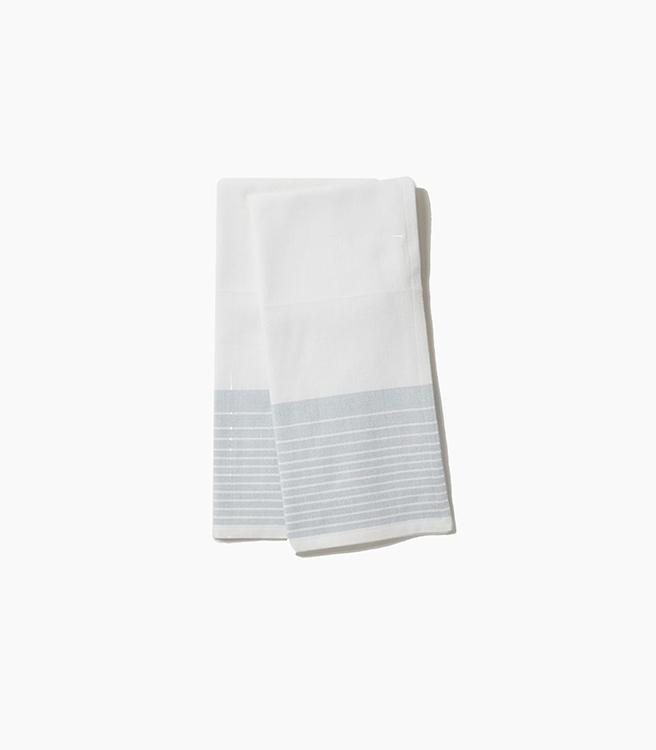Coyuchi Diamond Stripe Kitchen Towel - Aqua