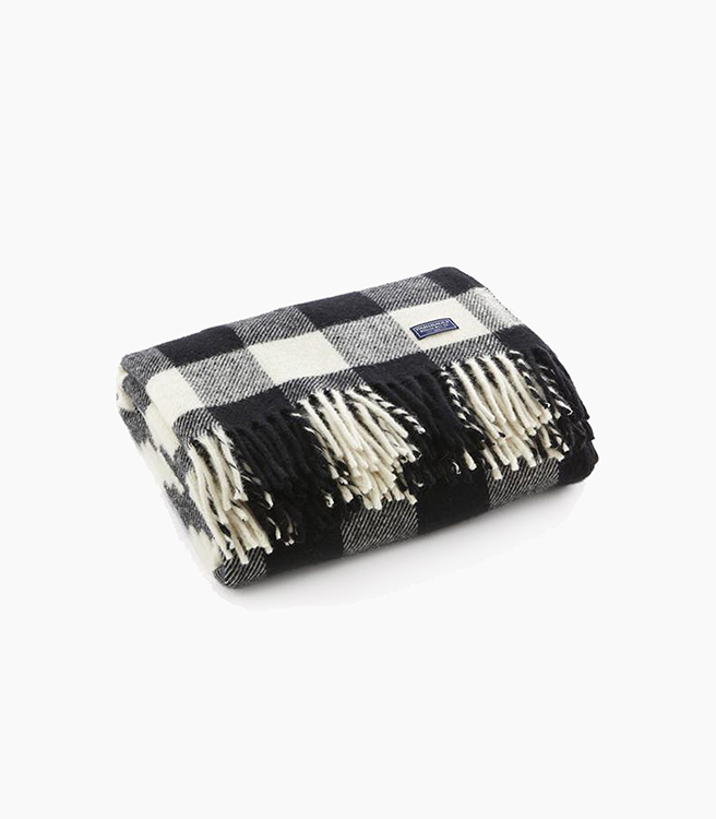 Faribault Woolen Mill Co. Buffalo Check Throw - White/Black