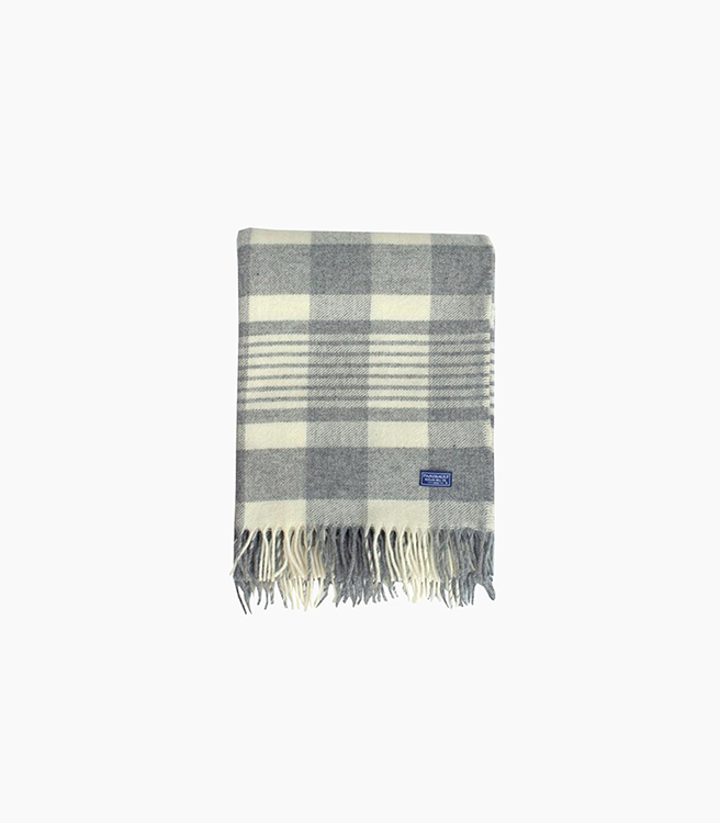 Faribault Woolen Mill Co. Faribault Plaid Throw - Gray/Natural