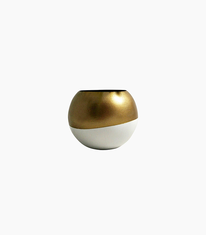 Sea & Asters Wood Sphere Planter - White/Gold