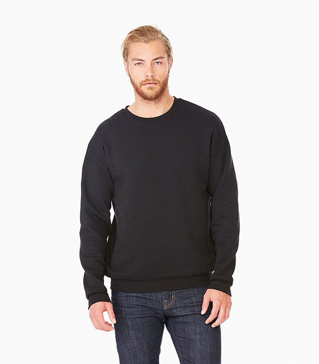 Bella + Canvas Unisex Sponge Fleece Drop Shoulder Sweatshirt - Black