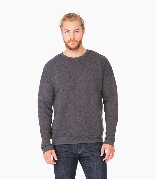 Bella + Canvas Unisex Sponge Fleece Drop Shoulder Sweatshirt - Dark Grey Heather