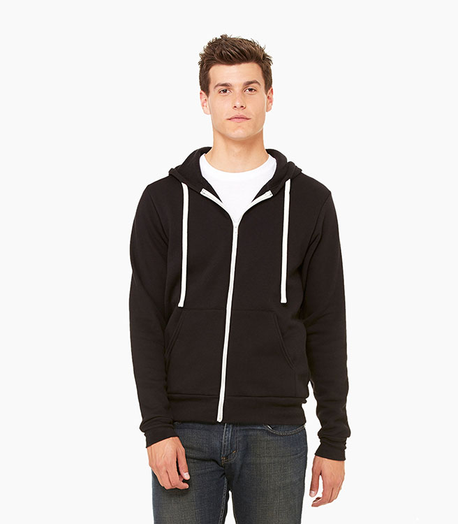 Bella + Canvas Unisex Sponge Fleece Full-Zip Hoodie - Black