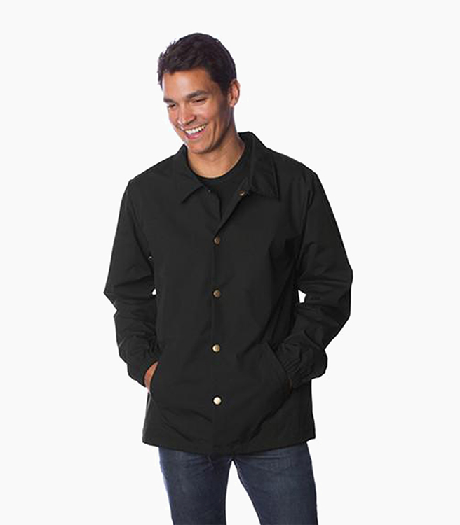 Independent Trading Company Men's Nylon Coaches Jacket - Black