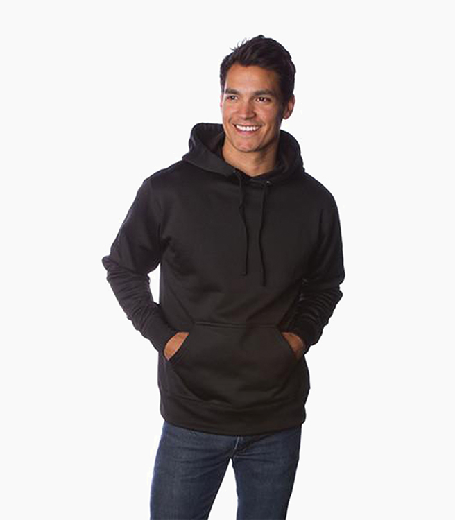 Independent Trading Company Men's Poly-Tech Slim Fit Pullover Hood - Black