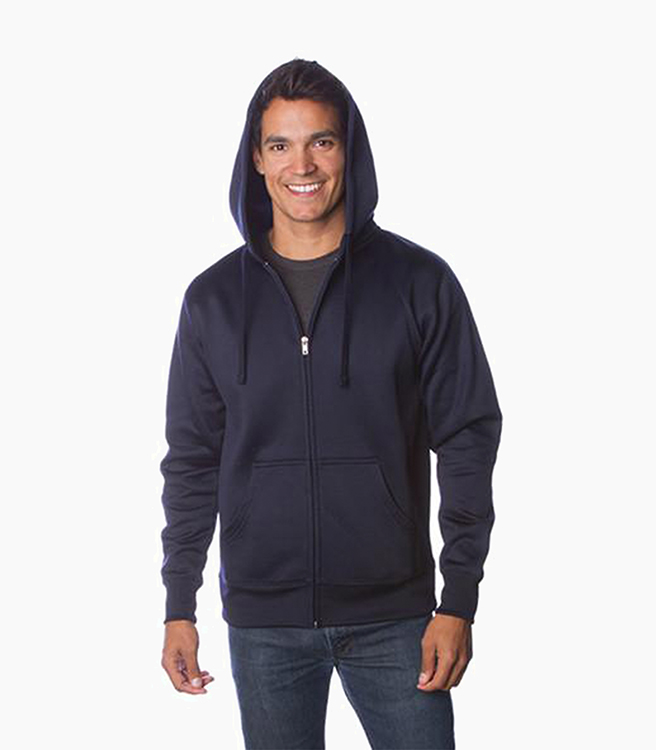Independent Trading Company Men's Poly-Tech Slim Fit Zip Hood - Classic Navy