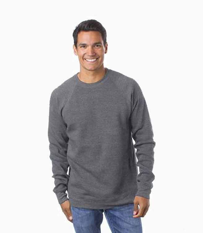 Independent Trading Company Men's Raglan Crew - Gunmetal Heather/Charcoal Heather
