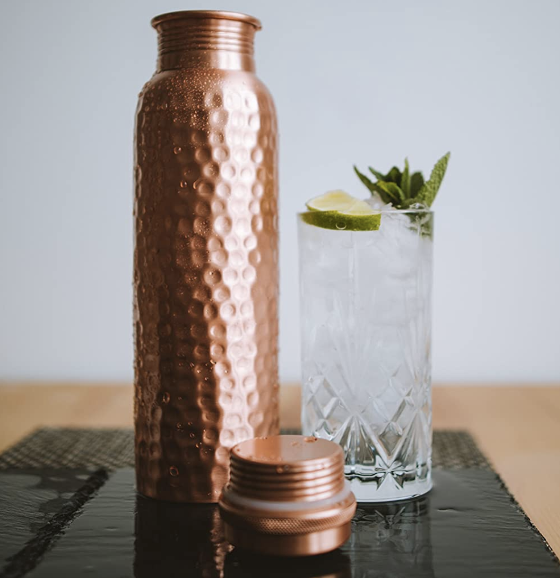 Kosdeg Hammered Copper Water Bottle 34 Oz