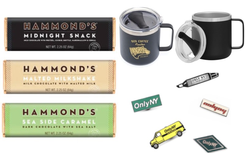 Modern Dopp Kit, Insulated Camp Mug, Hammond's Chocolate Bar, Custom Enamel Pin