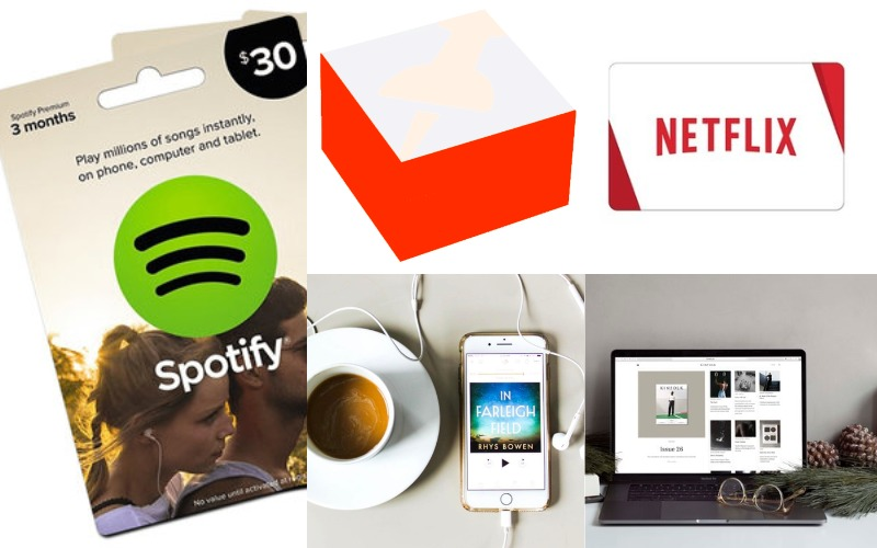 Netflix - Spotify - Kinfolk - audible subscription - custom sticky note