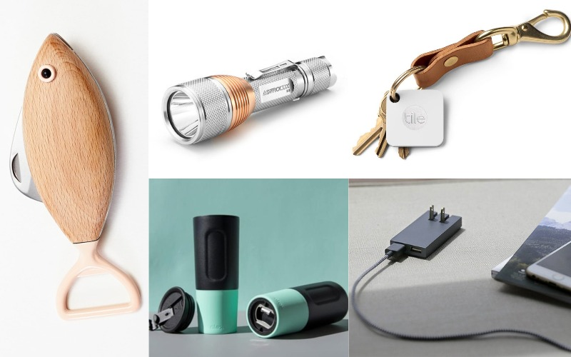 Smart Native Union Charger, Silver Flashlight, Tile Key Tracker, Fish Pocket Knife, Bottle Opener Water Cup
