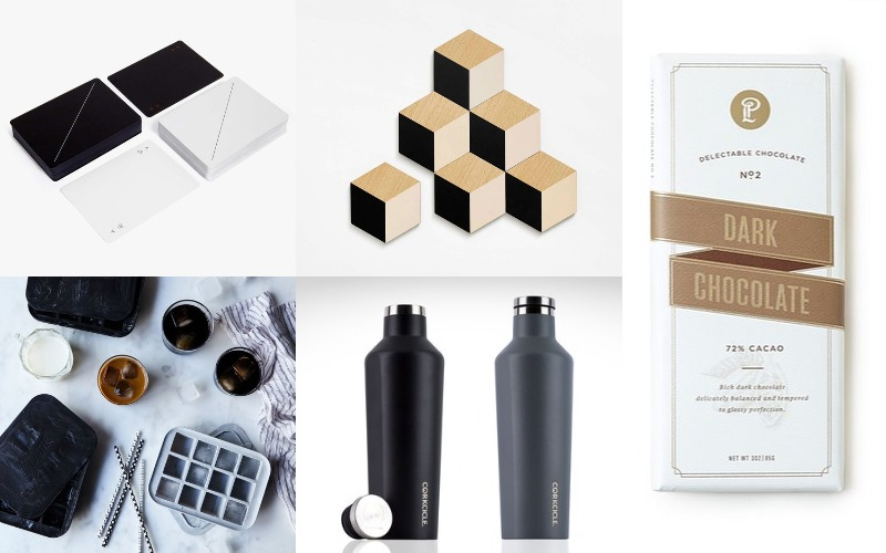 Minimalist playing cards, Lolli & Pops Dark Chocolate, Corkcicle 9oz Insulated Beverage Bottle, Areaware Tile Coasters, Peak Everyday Ice Trays