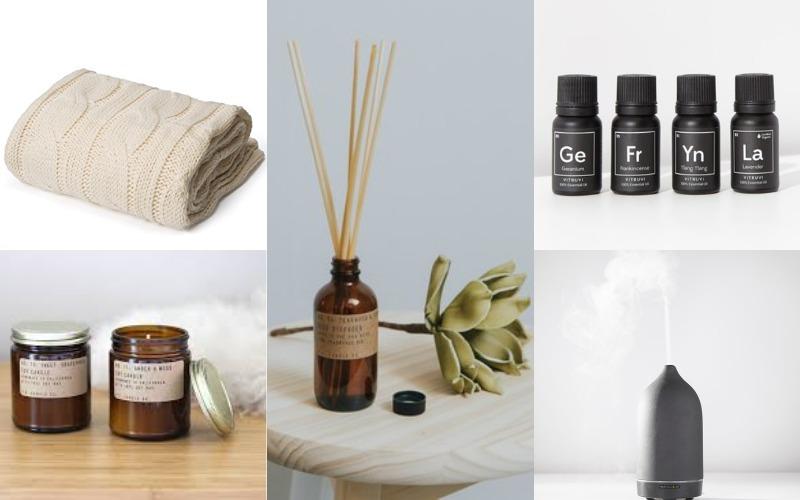 Vitruvi Diffuser, Vitruvi Essential Oils, Battio Blanket, PF Diffuser, PF Candle