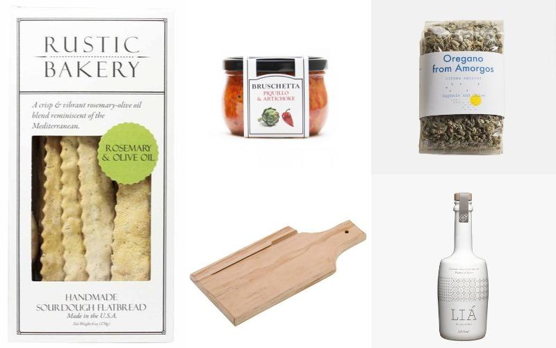 Winco Wood Bread Board, Rustic Bakery Crackers, Cucina & Amore Bruschettas, ILA Extra Virgin Olive Oil, Daphne & Chloe Oregano
