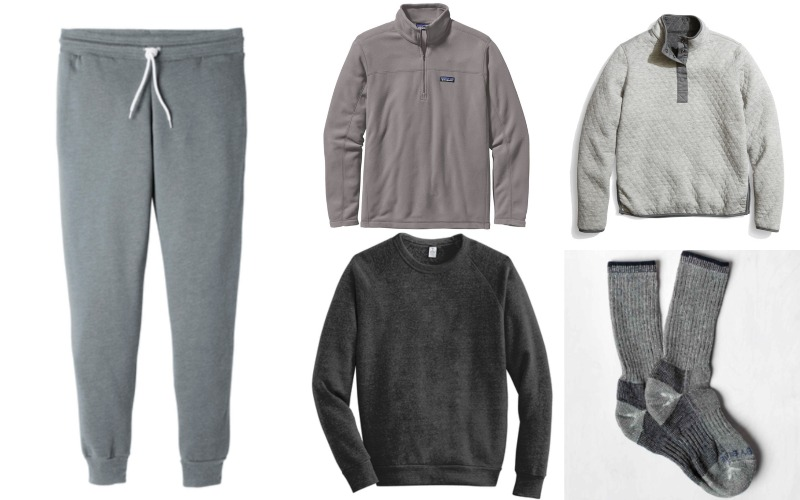 ‍B&C Unisex Joggers, Patagonia Micro D ¼ Zip Pullover, Marine Layer Quilted Pullover, Alternative Eco Sweatshirt, United by Blue Trail Socks