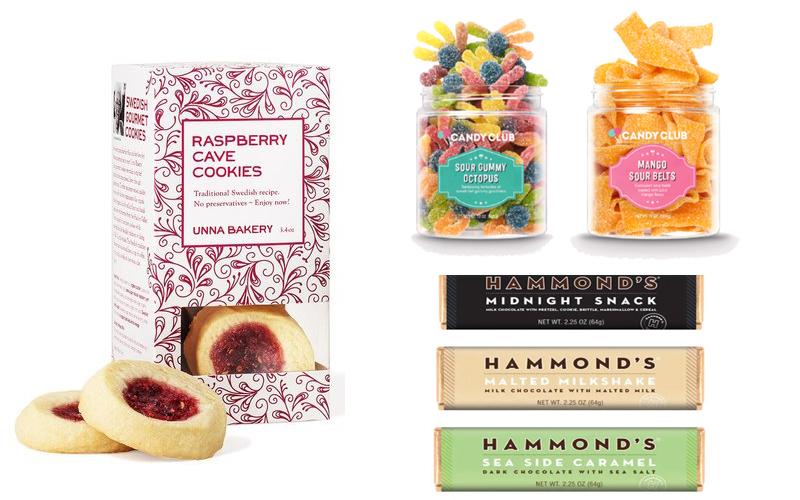 Candy Club Candies, Hammond's Chocolates, Unna Bakery Raspberry Swedish Cookies