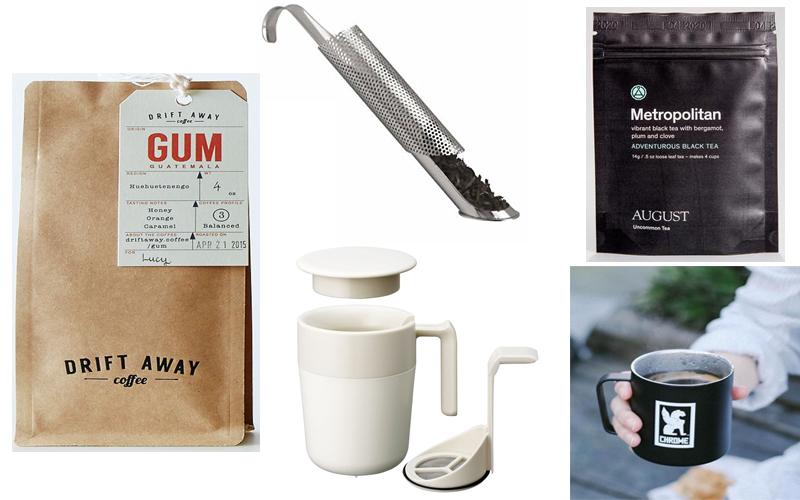 Drift Away Coffee 4oz, Tea Stick Infuser, August Tea Mini, French Press Mug, Miir Drinkware Camp Cup