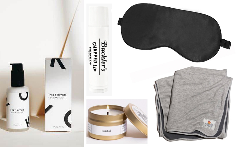 Peet Rivko Daily Moisturizer, Buckler's Remedy Chapstick, Customized Eye Mask, Brooklyn Candle Co in Santal, Marine Layer Blanket