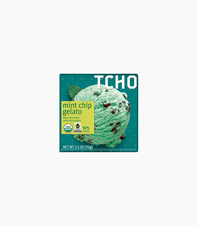 "TCHO DARK CHOCOLATE ""MINT CHIP GELATO"" BAR"