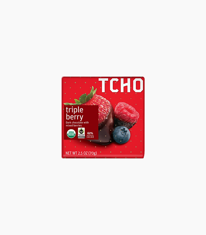 "TCHO DARK CHOCOLATE ""TRIPLE BERRY"" BAR"