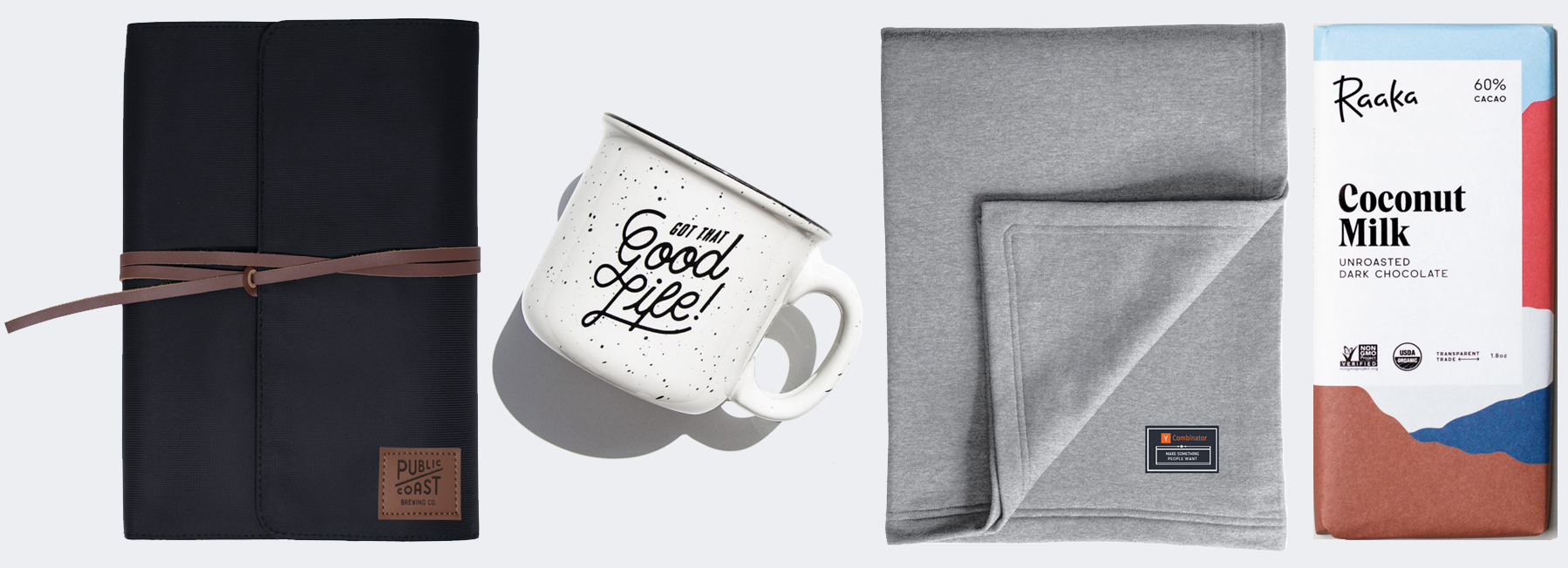 Modern Dopp Kit, Insulated Camp Mug, Sweatshirt Blanket, and Hammond's Chocolate Bar