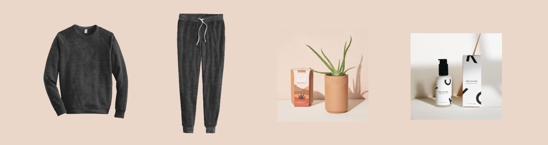 Alternative Eco Shirt, Alternative Joggers, Terracotta Grow Kit, and Peet Rivko Moisturizer