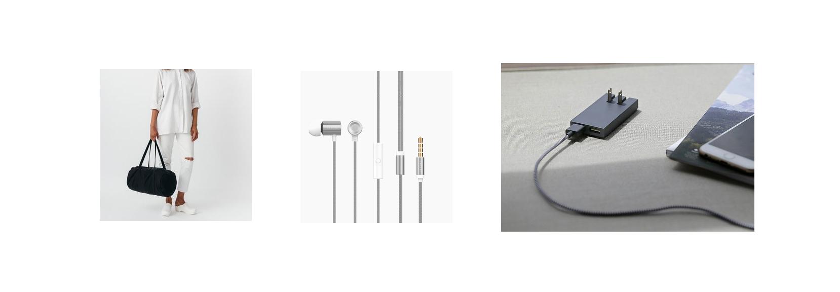 Baggu Canvas Duffel, Silver Le Cord Headphones, Smart Native Union Charger